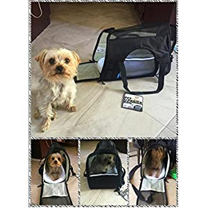 Carrier For Puppy Cats Kitten Dog Airline Approved | Side Loading Travel Bag With Sturdy Bottom & Fleece Cushion | Ventilated Pouch With Top Handle, Shoulder Strap & Zipper Locks (black)