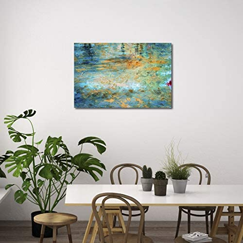 Mon Art Watercolor Picture Orange Blue Green Mysterious Colors Artistic Oil Painting Style Artwork for Living Room Bedroom Decoration Impressionism Wall Art 12 x16 ,Easy to Hang