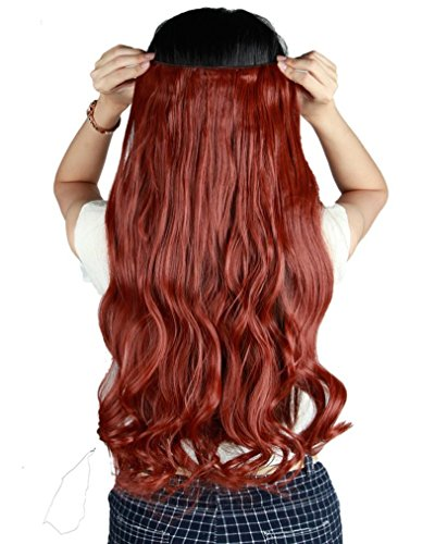 Long Ginger Wig (S-noilite 24 Inches(60cm) Long Curly Auburn Ginger Half Full Head One Piece 5 Clips Clip in Hair Extensions Most Popular Style Hairpiece)