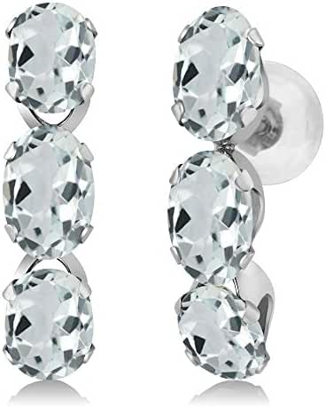 2.58 Ct Oval Sky Blue Aquamarine 14K White Gold Earrings