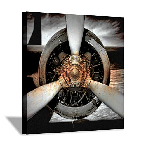 Airplane Engine Canvas Wall Art: Aerial Navigation Graphic Art Print on Canvas Pictures for Office Decor (24'' x 24'' x 1 Panel) ()
