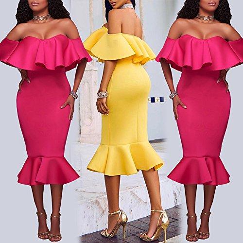 Vestido con Volante Mujer de Boutiquefeel Fucsia Tirante sin Hombros para Midi Dress Escote pWgfdZng