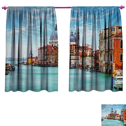 rative Curtains for Living Room Grand Canal and Basilica Santa Maria Della Salute Historical Architecture Patterned Drape for Glass Door W72 x L45 Blue Turquoise Orange ()
