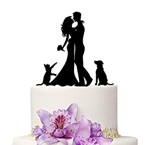 YAMI COCU Wedding Cake Toppers Bride and Groom With Cat And Dog Animal Black Color Acrylic Silhouette Wedding Party Engagement Decoration