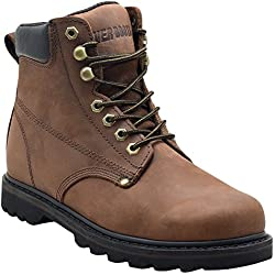 "Ever Boots ""Tank"" Men's Soft Toe Oil Full Grain Leather Insulated Work Boots Construction Rubber Sole (13 D(M), Darkbrown)"