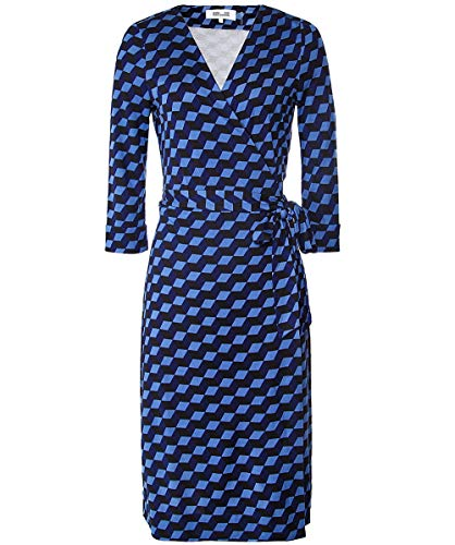 Diane von Furstenberg Women's Silk New Julian Jersey Wrap Dress Blue US 4
