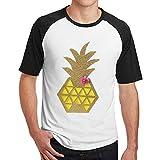 Sakanpo Men Yellow Pineapple Raglan Short Sleeve Baseball T Shirt