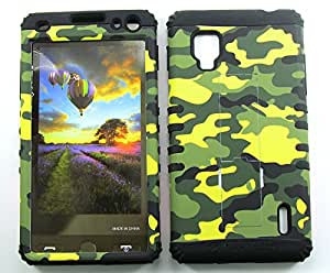 SHOCKPROOF HYBRID CELL PHONE COVER PROTECTOR FACEPLATE HARD CASE AND BLACK SKIN WITH STYLUS PEN. KOOL KASE ROCKER FOR LG OPTIMUS G CDMA LS970 CAMO BK-TE517