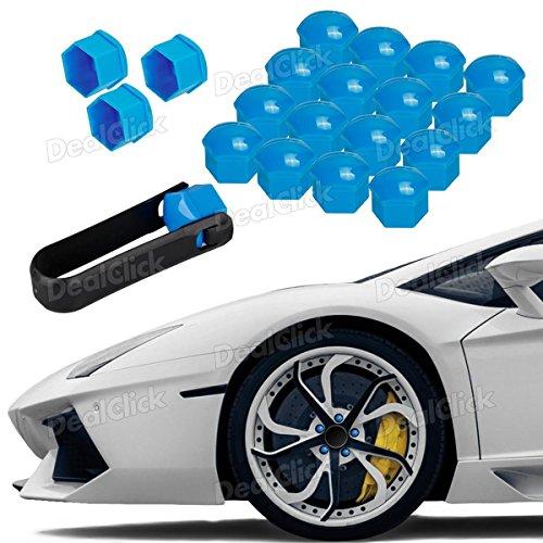 Lug Wheel Center Cap (20pcs Blue Wheel Lug Nut Center Cover Cap + Removal Tool for VW Audi Skoda Seat)