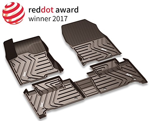 3W Floor Mats Set for Lexus RX (2016-2019) - All Weather Custom Fit Car Floor Mats with Odorless TPE Heavy Duty Carpet Liner for Lexus RX350 RX450h, Dark Brown