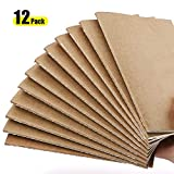 Travel Journal Set, AHGXG Notebook Journals-Pack of 12, A5 Notebook Refill with Lined Paper for Bulleting journaling&Travelers, College Ruled, Kraft Brown Soft Cover, 210mm x 140mm, 30 Sheets Per Pad