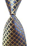 yellow and light blue - Secdtie Men's Classic Checks Light Blue White Jacquard Woven Silk Tie Necktie (One Size, Blue&Light Yellow)
