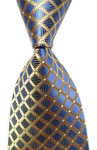 Secdtie Men's Classic Checks Light Blue White Jacquard Woven Silk Tie Necktie (One Size, Blue&Light Yellow)
