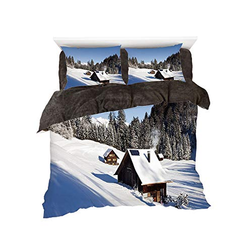 (All Season Flannel Bedding Duvet Covers Sets for Girl Boy Kids 4-Piece Full for bed width 4ft Pattern by,Winter,Log Cabins in the Mountains Sunny Winter Day Rural Scene Holiday Vacation)