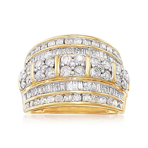Ross-Simons 2.00 ct. t.w. Baguette and Round Diamond Multi-Row Ring in 18kt Gold Over Sterling (In Gold Diamond Rings)
