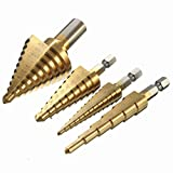 4pcs HSS Titanium Coated Step Drill Bits 1/4 Inch Hex Shank 3/8 Inch Round Shank