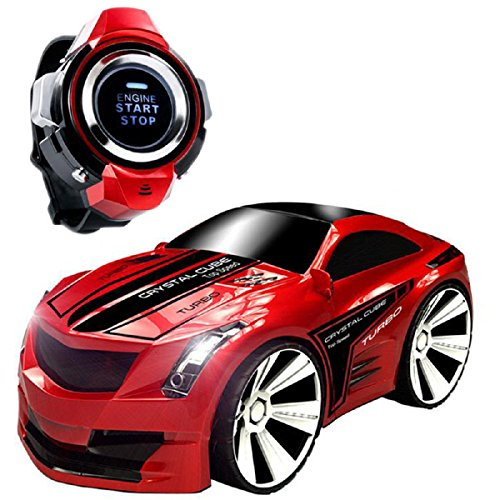 Toy RC Vehicles, CEStore Creative Voice-activated RC Car Rechargeable Radio Control by Smart Watch, Voice Command RC Vehicles Toy w/Dazzling Headlights and Cool Brakes for Kids- Red