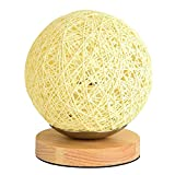 Minimalist Solid Wood Table Lamp Bedside Desk Lamp Colourful Home Decor Rattan Ball Round Lampshade - Yellow
