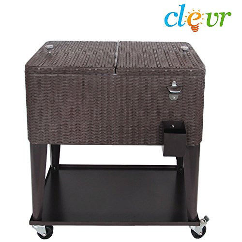 Clevr 80 Qt Outdoor Patio Rolling Ice Chest Cooler Cart, Dark Brown Wicker Faux Rattan   Portable Party Drink Beverage Bar Cold   Wheels with Shelf & Bottle Opener by Clevr (Image #5)