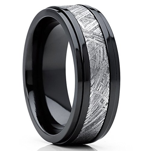 (Metal Masters Co. Solid Black Zirconium and Real Muonionalusta Meteorite Inlay Wedding Band Engagement Ring 8mm 9.5)