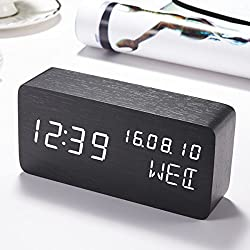 Alarm Clock Wood LED Digital , Sentai Displays Time Date Week & Temperature Desk Clock with 3 Brightness Adjustable, 3 Set of Alarm. Voice Control,Power by Batteries or USB Charger Travel Clock-Black