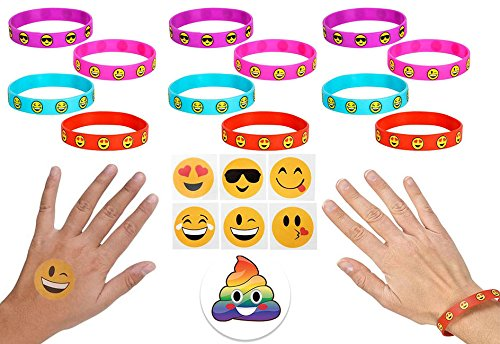 Emoji Party Favor Supplies for Girls & Boys, 36 Silicone Smile Bracelets, 144 Emoji Temporary Tattoos, & 1 Rainbow Poop Pin – Super Fun Set of 181 Pieces Birthday, Classroom, BFF Sleepovers