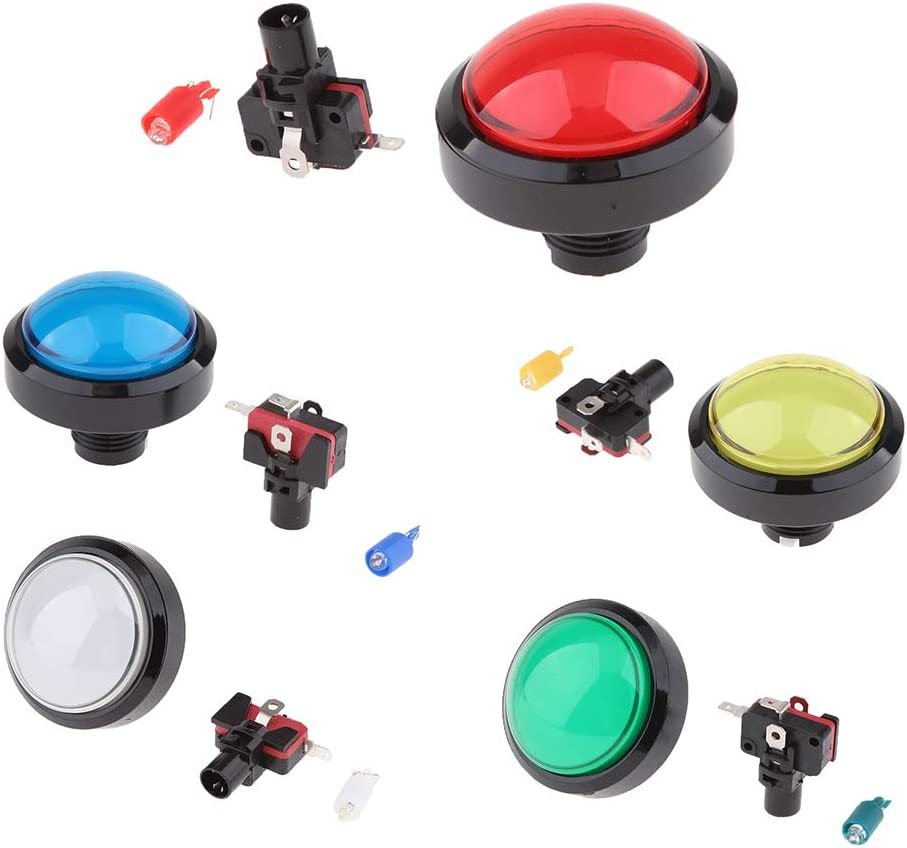 Red B Blesiya Dome Convex Type LED Illuminated Push Button for Arcade Machine Games 60mm