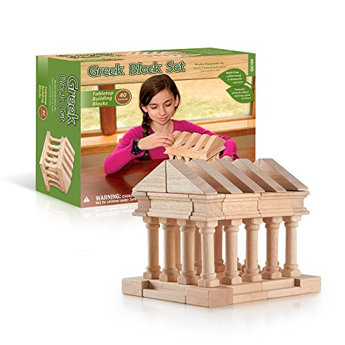 Guidecraft Tabletop Building Blocks - Greek Themed Columns and Blocks Set; Wooden Toy and Storage Bag For Toddler STEM - Guidecraft Art Supply Cart