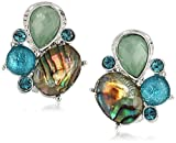 Anne Klein Women's Silver Tone And Blue Multi Stone Cluster Clip On Earrings