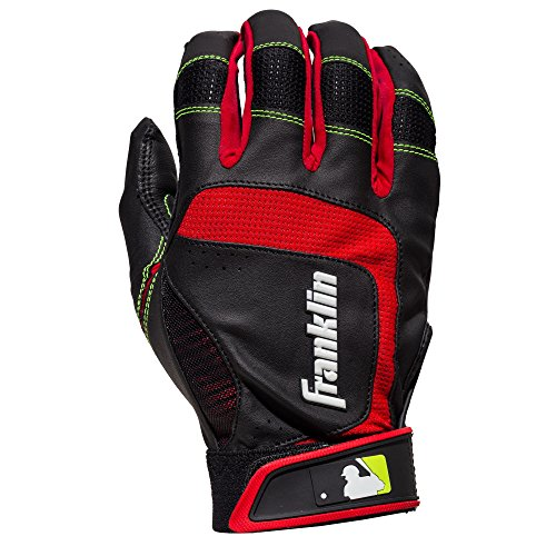 Franklin Sports MLB Adult Shok-Sorb Neo Batting Gloves, Black/Red/Yellow, Medium