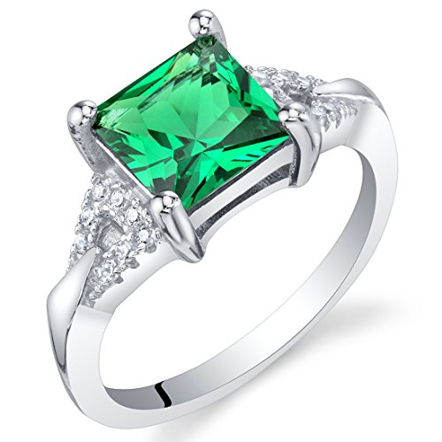 Simulated Emerald Sterling Silver Sweetheart Ring Size 7 ()