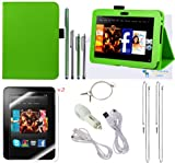 The Friendly Swede (TM) PU Leather Case Cover Bundle for Kindle Fire HD 7 Inch in Retail Packaging (NOT Compatible With Kindle Fire) (Green), Best Gadgets