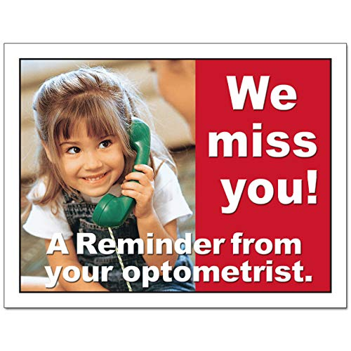 Laser Reminder Postcards, Optometric Appointment Reminder Postcards. 4 Cards Perforated for Tear-off at 4.25'' x 5.5'' on an 8.5'' x 11'' Sheet of 8 Pt Card Stock. OPT113-LZS (2500) by Custom Recall (Image #2)