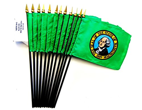 Miniature State Flags - MADE IN USA!! Box of 12 Washington 4