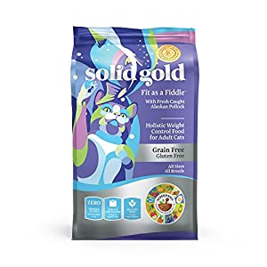 Solid Gold - Fit as a Fiddle with Fresh Caught Alaskan Pollock - Grain-Free Weight Control Adult Dry Cat Food - 12 LB 9