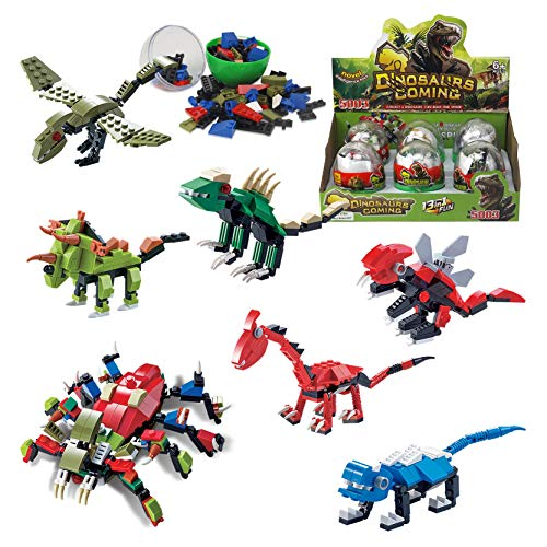 3D Dinosaur Puzzle Figures Building Bricks in Jurassic Eggs - 6-in-1 Buildable Transforming Dino Blocks - Educational Assembly Kits for Kids Party Favors (Set of 6)
