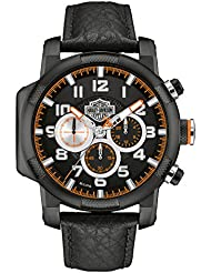 Harley-Davidson Mens Six Hand Chronograph Bearing Cap Piston Design Black Black Watch (One Size)