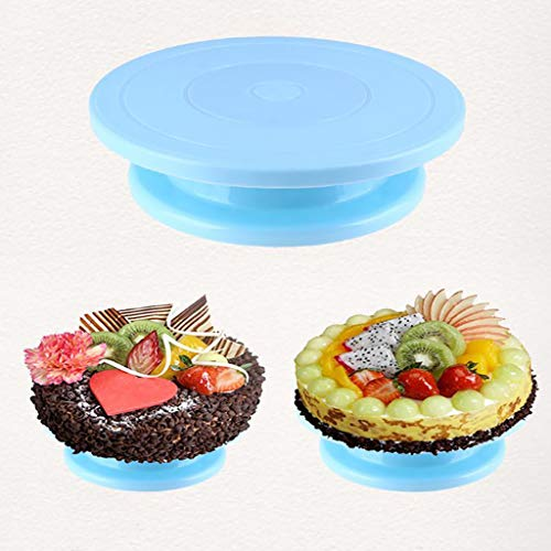Maikouhai Cake Turntable, Material Food Grade ABS Plastic, Kitchen Cake Decorating Rotating Revolving Icing Display Stand for Decoration, Models, Show - 28(Diameter) x 7 (Height) cm (Blue)