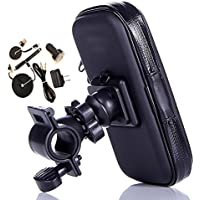 Rugged Heavy Duty Zippered Bike Handlebar Mount and USB Power Kit fits LG K8 V with any Cover on it.