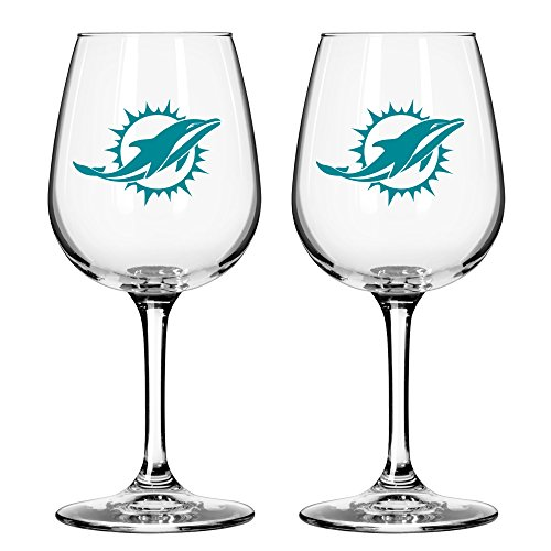 NFL Miami Dolphins Game Day Wine Glass, 12-ounce, - Shop Glass Miami