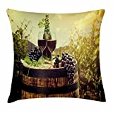 Ambesonne Wine Throw Pillow Cushion Cover, Scenic Tuscany Landscape with Barrel Couple of Glasses and Ripe Grapes Growth, Decorative Square Accent Pillow Case, 16 X 16 inches, Green Black Brown