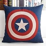 Mary's Home Superman Batman Green Lantern Captain America, Iron Man, the Flash Cotton & Linen Pillowcase Decorative Throw Pillow Cover (Captain America)