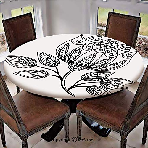 Bamboo Leaf Table Lamp - Elastic Edged Polyester Fitted Table Cover,Hand Drawn Monochrome Floral Pattern with Ornamental Petals and Leaves Swirls Curves,Fits up 40