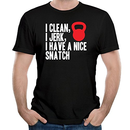 Men's 2016 I Clean I Jerk I Have A Nice Snatch Vector Funny Shirts Black