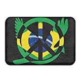 Brazil Flag Peace Sign Symbol Indoor Outdoor Entrance Rug Non Slip Kitchen Rug Doormat Rugs Home