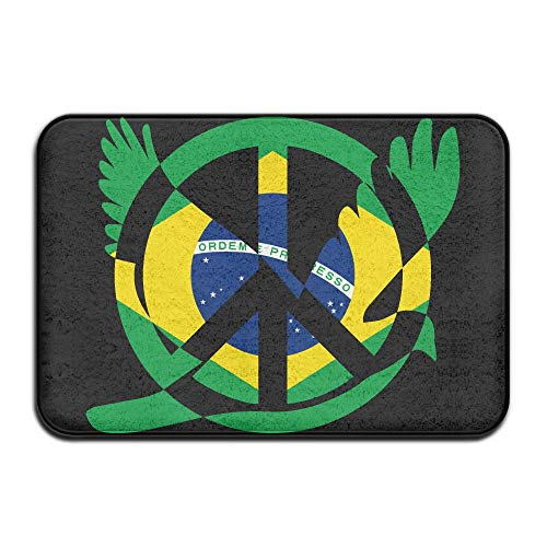 Brazil Flag Peace Sign Symbol Indoor Outdoor Entrance Rug Non Slip Kitchen Rug Doormat Rugs Home by HONMAt-Non