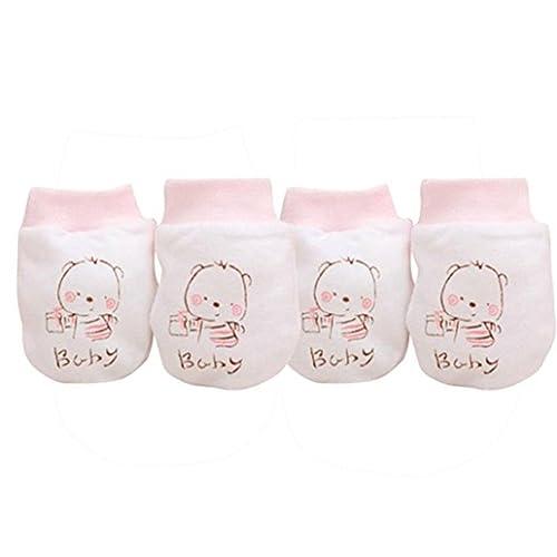 2 pares unisex para bebé algodón guantes manoplas antiarañazos para no suave Recién Nacido calentadores de mano para regalo