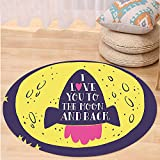 VROSELV Custom carpetLove Decor Rocket Goes to the Space I Love You to the Moon and Back Quote Stars Solar Cute Design Bedroom Living Room Dorm Decor Yellow Indigo Round 79 inches