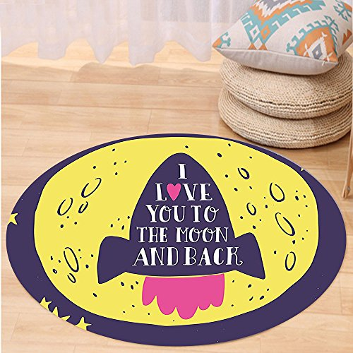 VROSELV Custom carpetLove Decor Rocket Goes to the Space I Love You to the Moon and Back Quote Stars Solar Cute Design Bedroom Living Room Dorm Decor Yellow Indigo Round 47 inches by VROSELV