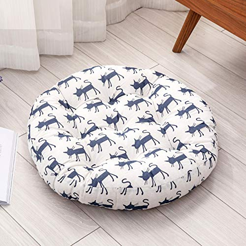 ZXCC Cotton Linen Thicken Chair Cushion, Round Seat Pads Futon Floor Cushion Printing Stool Cushions Patio Mats for Office Dining Outdoor Tailbone Pain-e 40x40cm(16x16inch) (Paine's Patio)